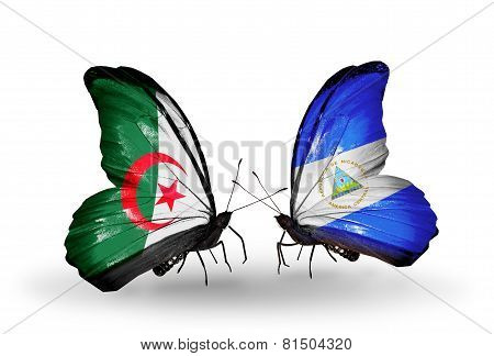 Two Butterflies With Flags On Wings As Symbol Of Relations Algeria And Nicaragua