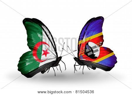 Two Butterflies With Flags On Wings As Symbol Of Relations Algeria And Swaziland