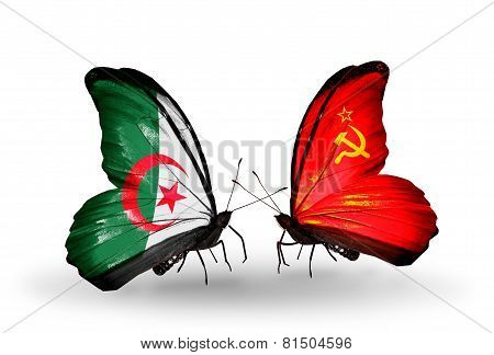 Two Butterflies With Flags On Wings As Symbol Of Relations Algeria And Soviet Union