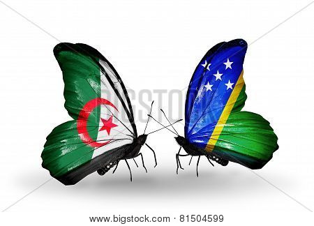 Two Butterflies With Flags On Wings As Symbol Of Relations Algeria And Solomon Islands
