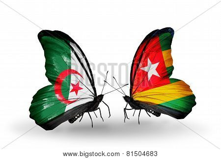Two Butterflies With Flags On Wings As Symbol Of Relations Algeria And Togo