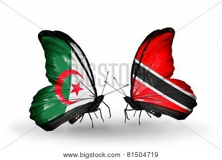Two Butterflies With Flags On Wings As Symbol Of Relations Algeria And Trinidad And Tobago