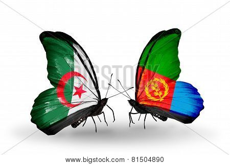 Two Butterflies With Flags On Wings As Symbol Of Relations Algeria And Eritrea