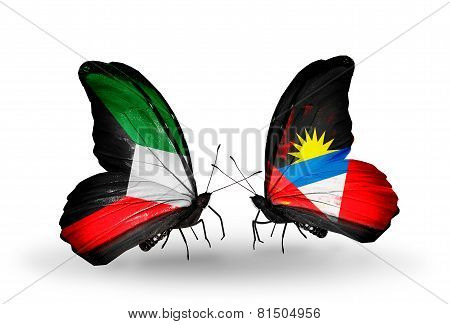 Two Butterflies With Flags On Wings As Symbol Of Relations Kuwait And Antigua And Barbuda