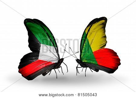 Two Butterflies With Flags On Wings As Symbol Of Relations Kuwait And Benin