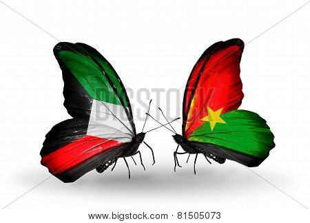 Two Butterflies With Flags On Wings As Symbol Of Relations Kuwait And Burkina Faso
