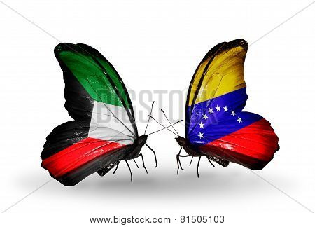 Two Butterflies With Flags On Wings As Symbol Of Relations Kuwait And Venezuela