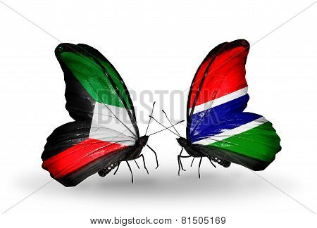 Two Butterflies With Flags On Wings As Symbol Of Relations Kuwait And Gambia