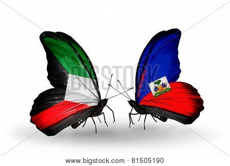 Two Butterflies With Flags On Wings As Symbol Of Relations Kuwait And Haiti