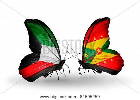 Two Butterflies With Flags On Wings As Symbol Of Relations Kuwait And Grenada