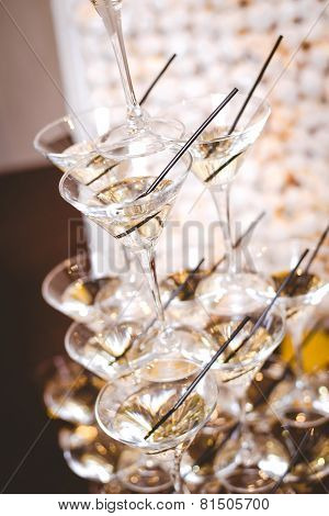 Martini Glasses Filled With Vermouth