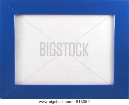 Empty blue wood photo frame