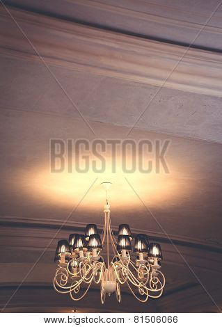 Chandelier Shines On The Ceiling