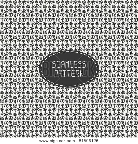 Vector seamless retro vintage hipster line pattern with flowers. Hand drawn doodles. Stylish graphic