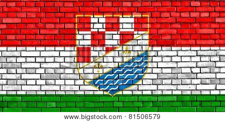 Flag Of Posavina Canton Painted On Brick Wall