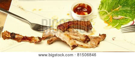 Bones Of Spare Ribs On Plate