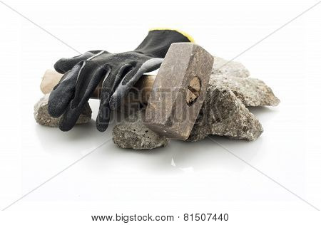 Concrete rubble debris