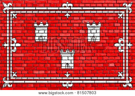 Flag Of Aberdeen Painted On Brick Wall