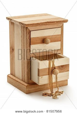 Golden Chain In Wooden Box