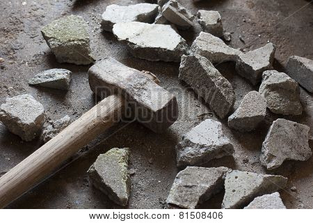 rubble debris with hammer