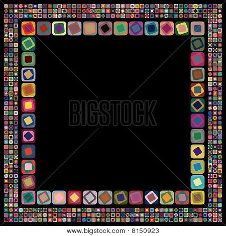 Abstract geometric vector frame on black background