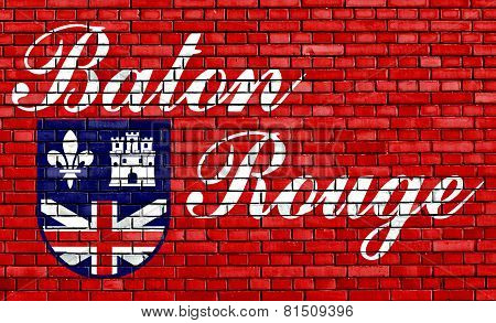 Flag Of Baton Rouge Painted On Brick Wall