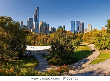 Fall In Central Park: Wollman Rink And Manhattan Highrises