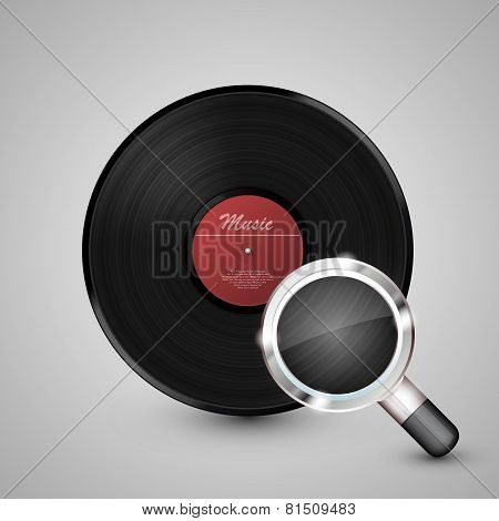 Vinyl disk with a magnifying glass