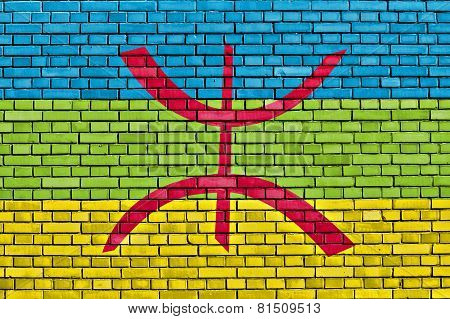 Berber Flag Painted On Brick Wall