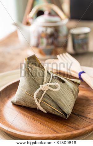 Zongzi Or Sticky Rice Dumpling With Tea