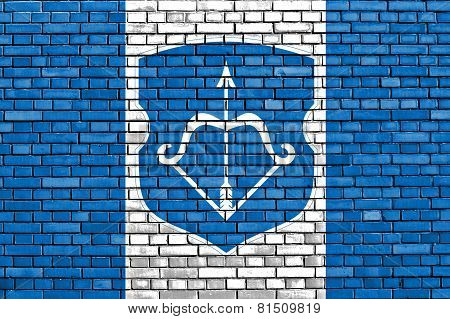Flag Of Brest Painted On Brick Wall
