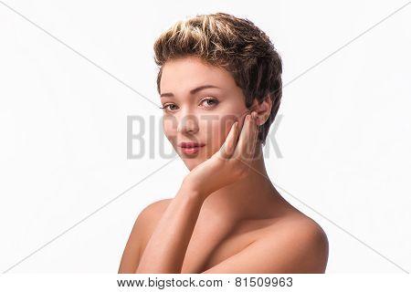 Close up portrait of beautiful stunning woman