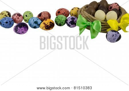 Nest with Easter eggs isolated, Easter concept on white background