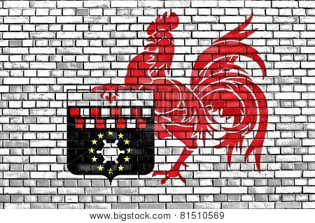 Flag Of Charleroi Painted On Brick Wall