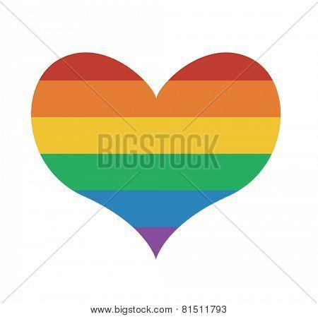 Heart icon with rainbow flag Valentine day symbol