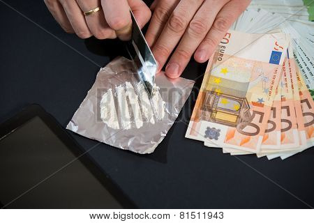 Cocaine, money, credit card