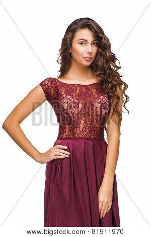 Young woman wearing evening dress