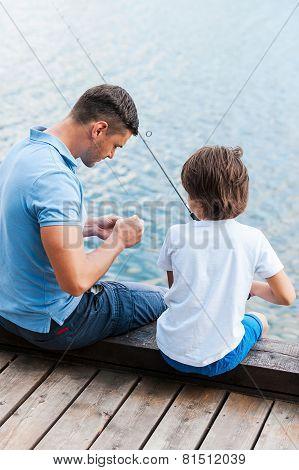 Preparing Rod For Fishing.