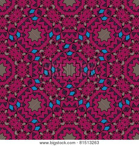 Vintage purple seamless pattern with filigree circles mandala vector.