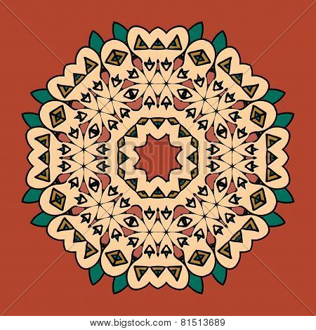 what is karma Oriental mandala motif round lase pattern on the yellow background, like snowflake or