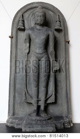 KOLKATA, INDIA - FEBRUARY 15:  Standing Buddha, from 9/10th century found in Basalt, Bihar now exposed in the Indian Museum in Kolkata, on February 15, 2014