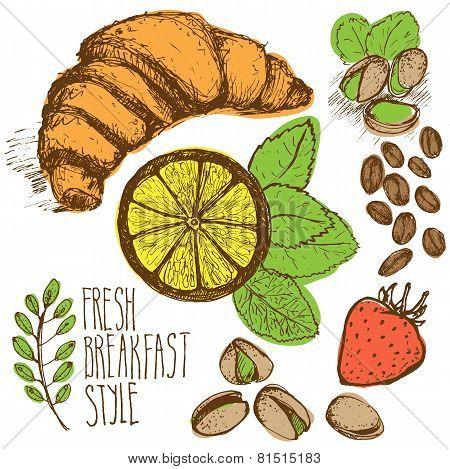 Breakfast sketched set