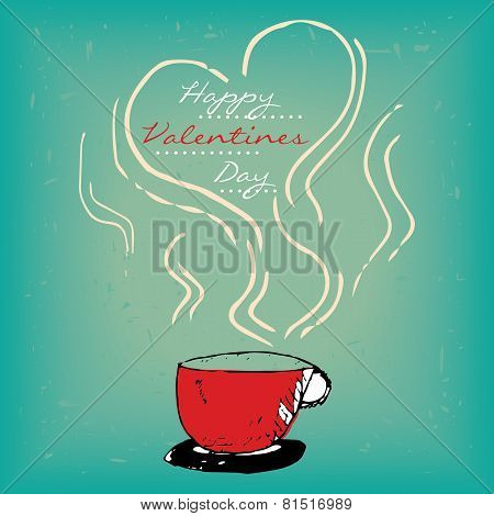 Valentines day card with steamy red cup
