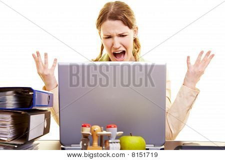 Woman Shouting At Her Laptop