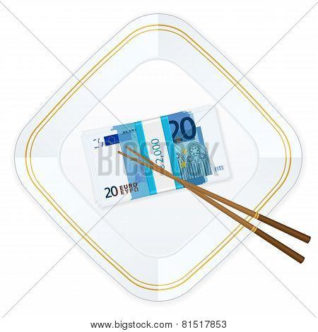 Plate Chopsticks And Twenty Euro Pack