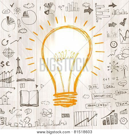 Light bulb with drawing business success strategy