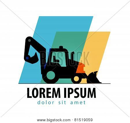 construction tractor vector logo design template. bulldozer or truck icon.