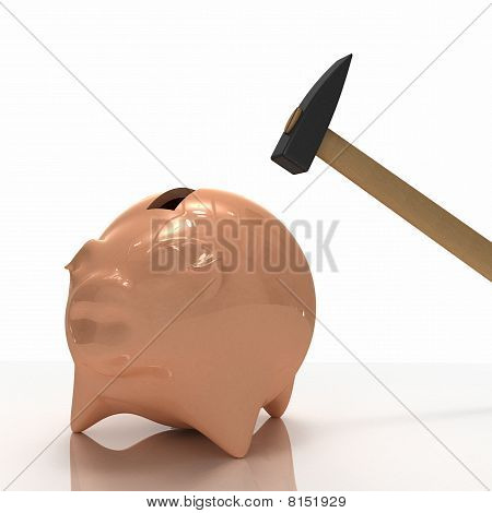 Pig Bank With Hammer