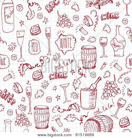 Wine sketch vintage seamles
