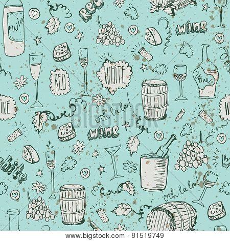 Wine sketch and vintage illustration